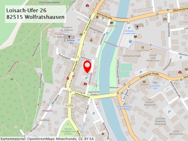 Anfahrtsweg Loisach-Ufer 26, 82515 Wolfratshausen